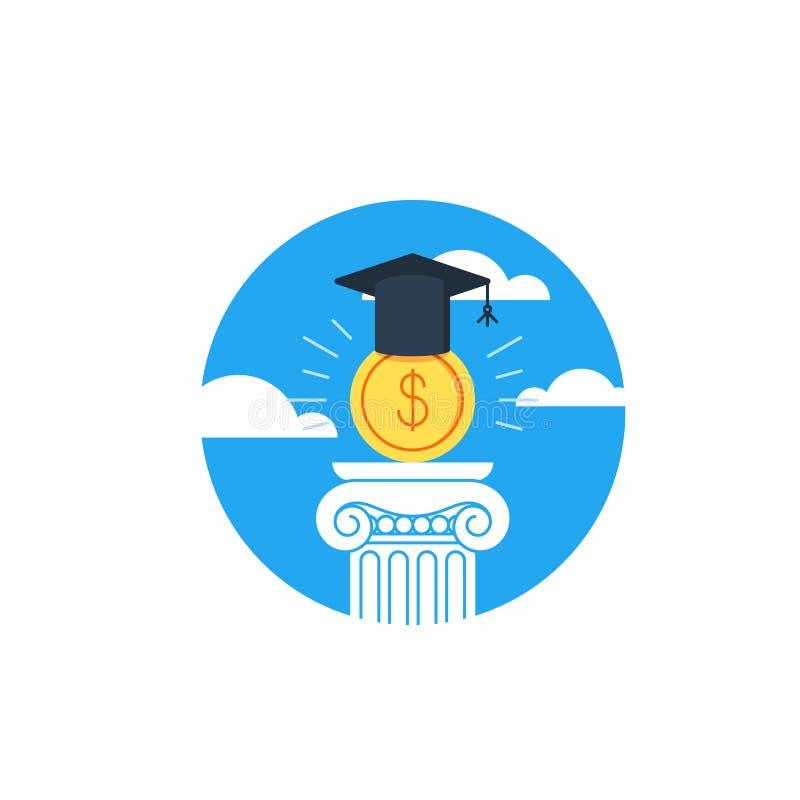 Деньги обучения, образование финансов, стипендия иллюстрация вектора