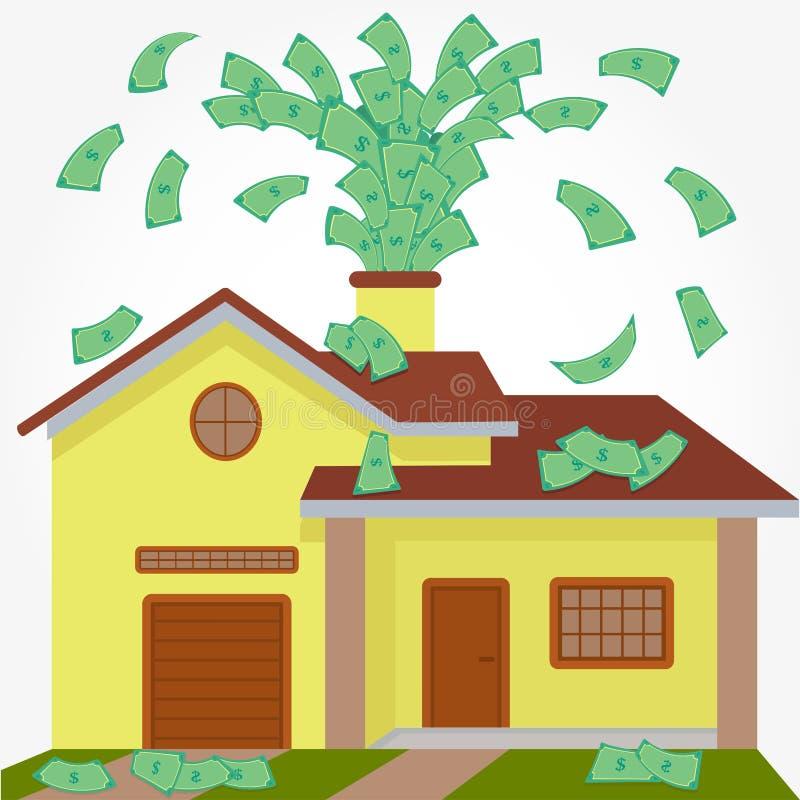Деньги дома spouting бесплатная иллюстрация