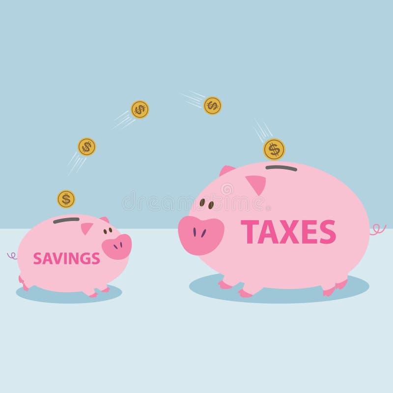 Деньги от копилки, который нужно позволить для того чтобы оплатить налоги. бесплатная иллюстрация