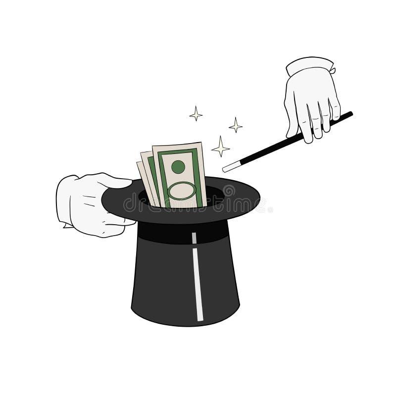 Деньги от шляпы иллюстрация штока