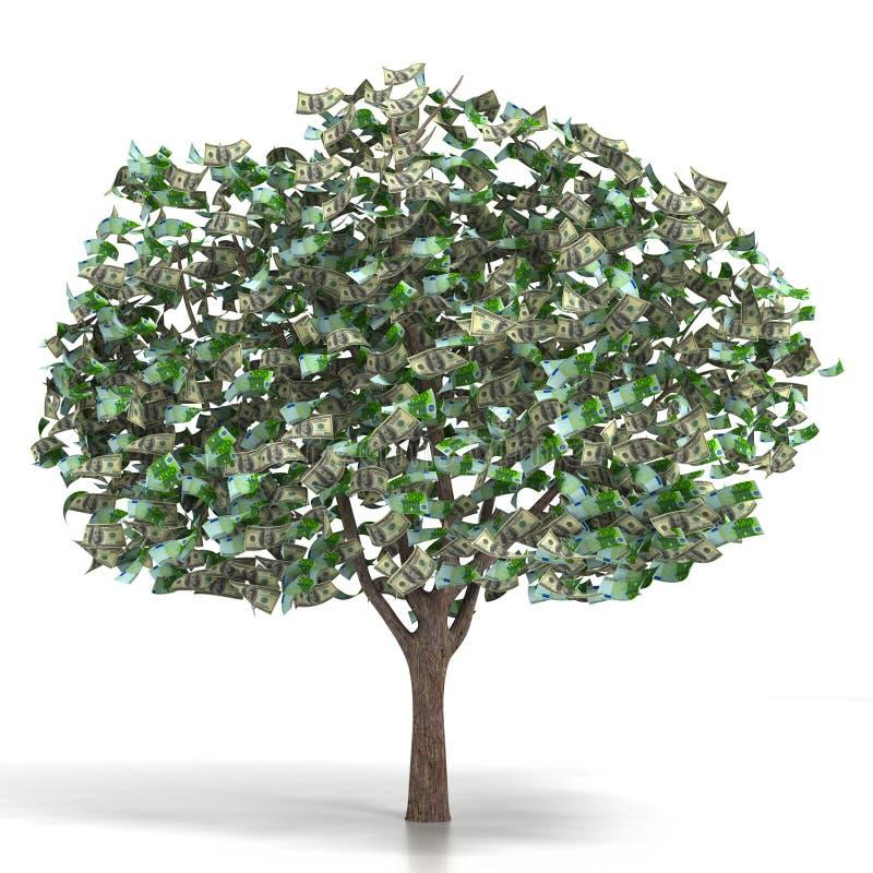 Деньги растя на дереве иллюстрация штока