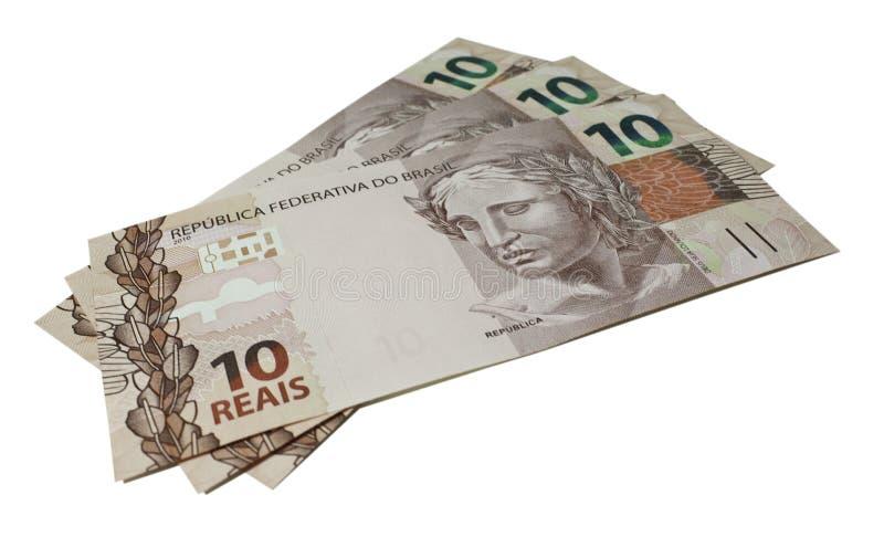 Деньги - реальные - Бразилия (10 reais) стоковое изображение