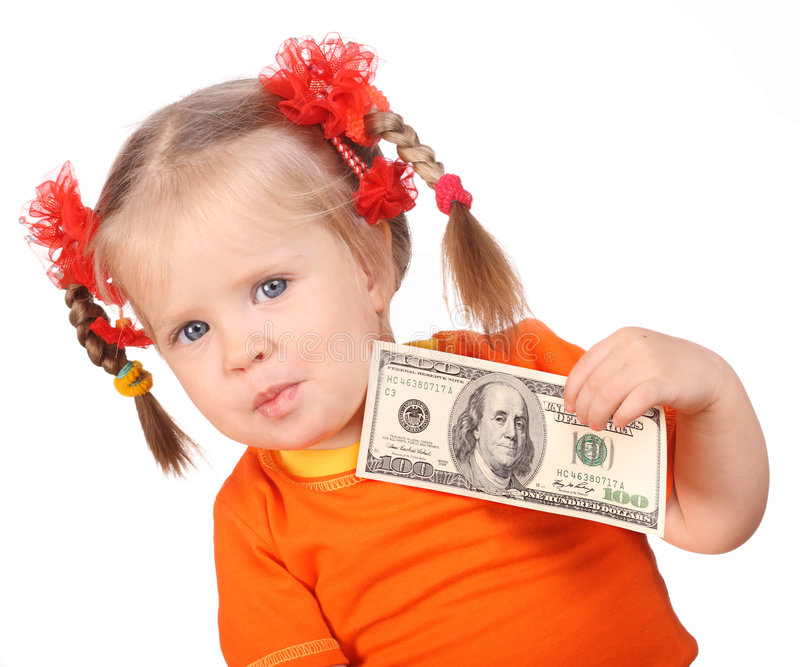 деньги руки младенца стоковое фото rf