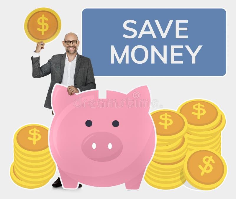 Деньги сбережений бизнесмена в копилке стоковое изображение
