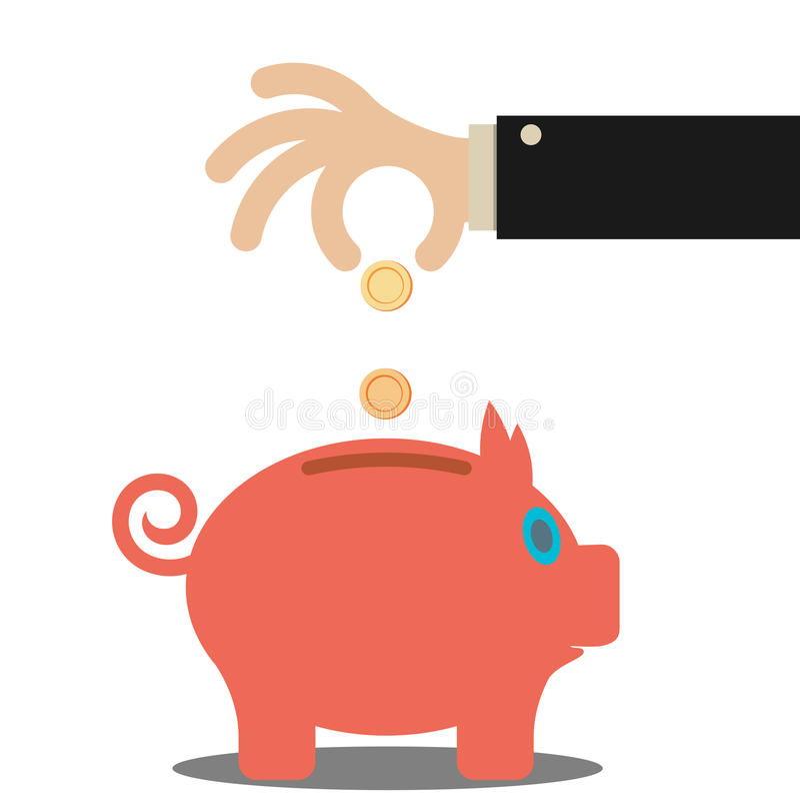 Деньги сбережений руки дела в копилке бесплатная иллюстрация