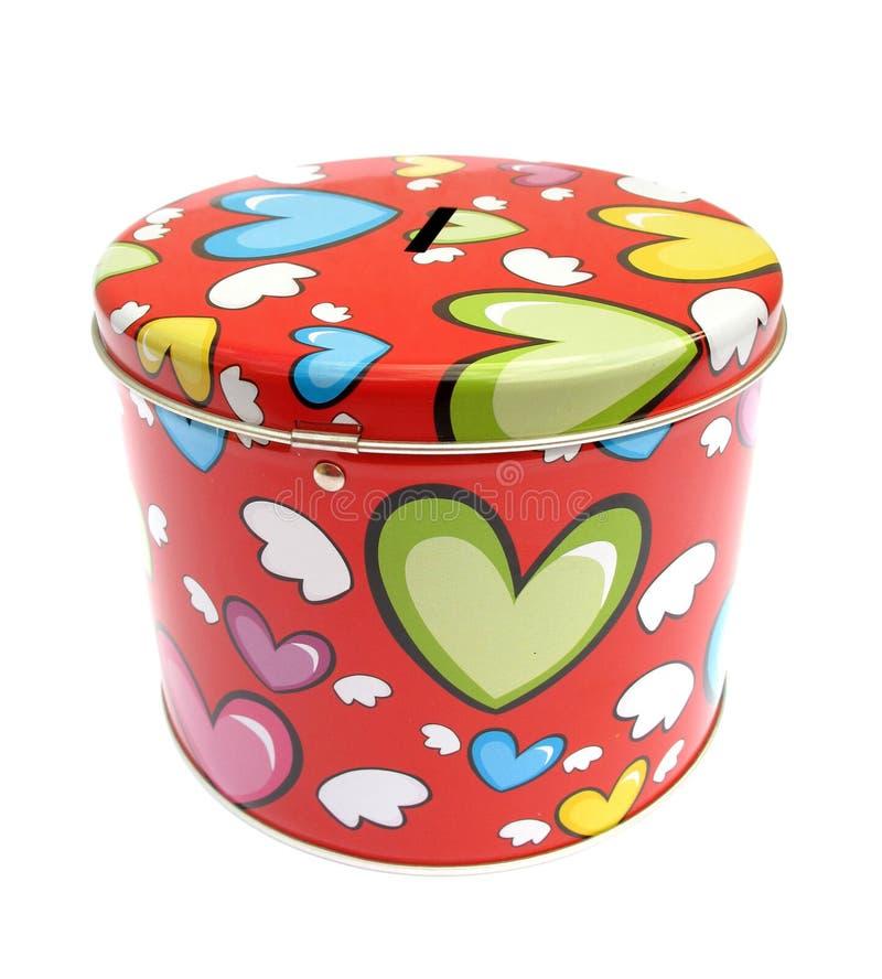 деньги сердец коробки цветастые стоковое изображение