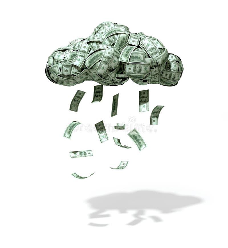 Деньги смогли с падая долларами стоковые фотографии rf