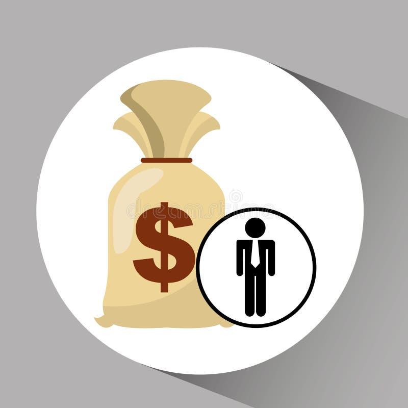 Деньги сумки финансов экономики менеджера человека силуэта иллюстрация штока