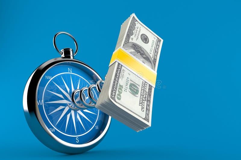 Деньги с компасом иллюстрация штока
