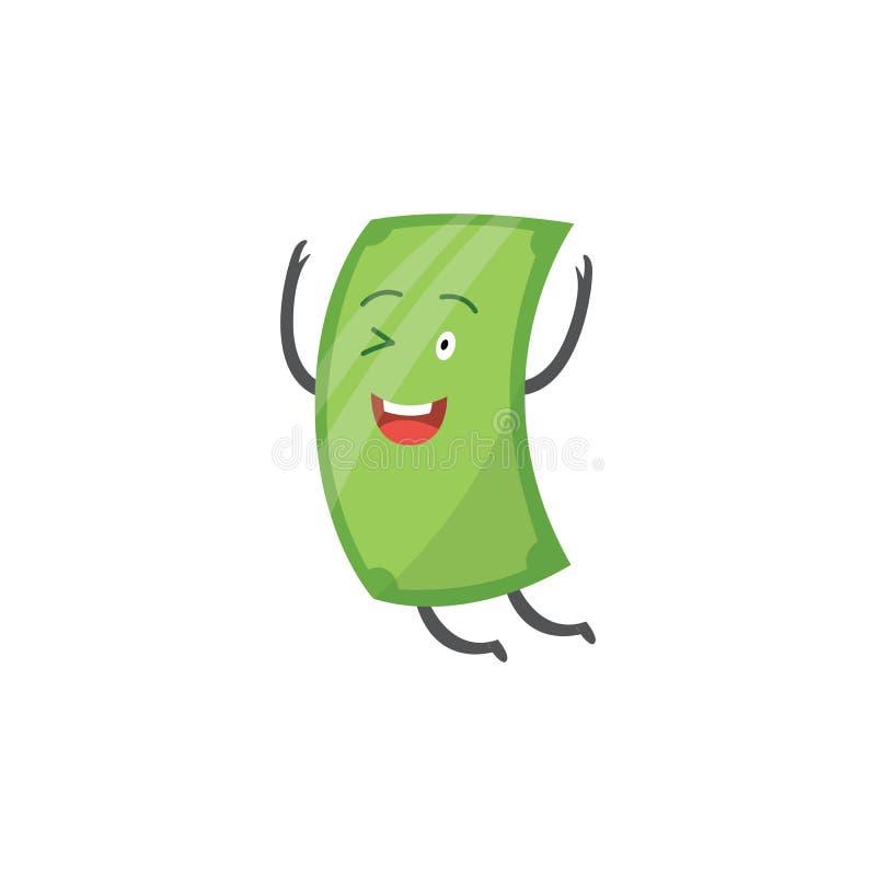 Деньги характера, зеленая бумага банкноты доллара мультфильма и радуются и усмехаются, подмигиваются и скачутся бесплатная иллюстрация