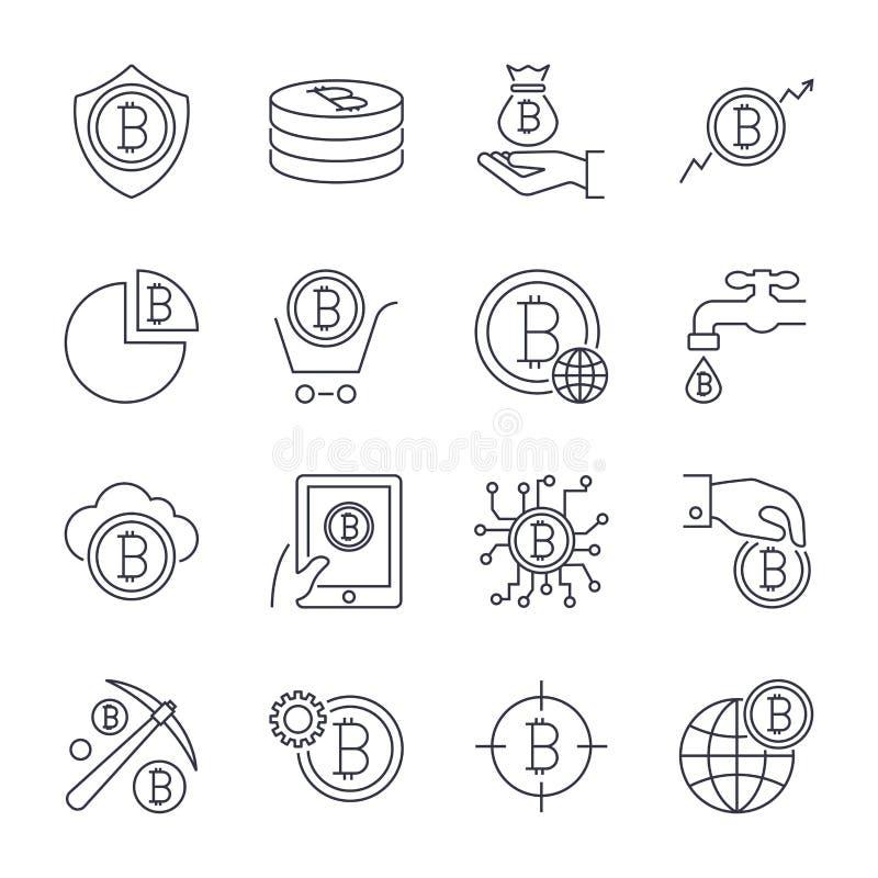 Деньги цифров, линия значки вектора bitcoin, минимальный дизайн пиктограммы Editable ход для любого разрешения иллюстрация штока