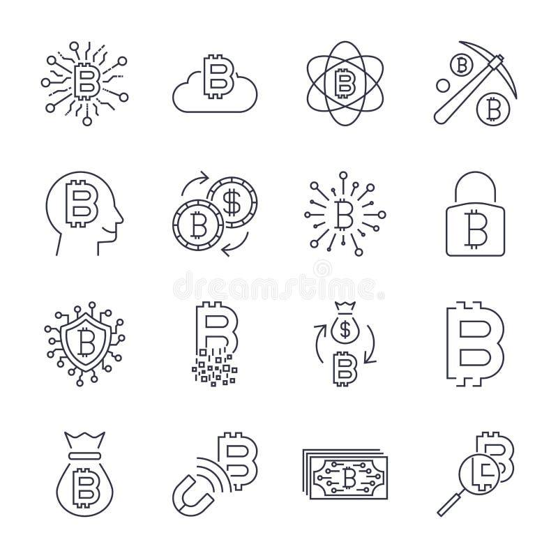 Деньги цифров, линия значки вектора bitcoin, минимальный дизайн пиктограммы, editable ход для любого разрешения : иллюстрация штока