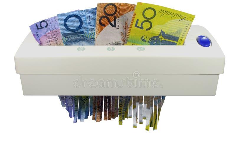Деньги через шредер стоковые фотографии rf
