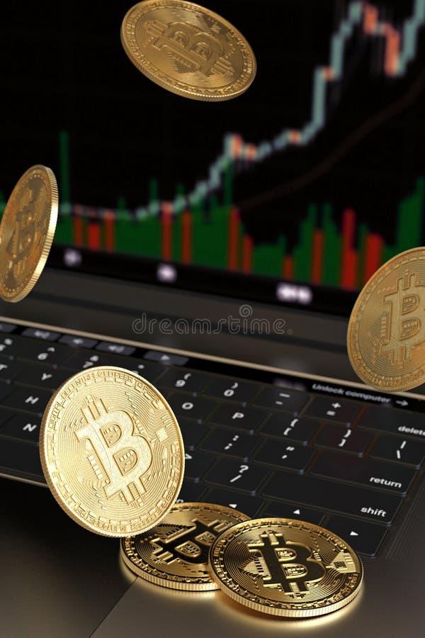 Деньги Bitcoin золота виртуальные падая на клавиатуру ноутбука, вертикаль стоковые изображения rf
