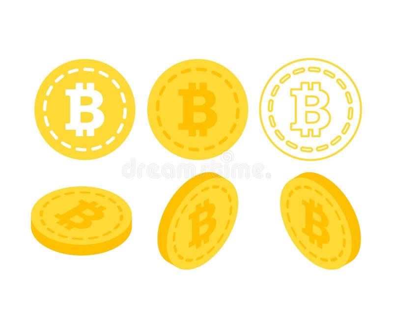 Деньги Bitcoin 3d плоские равновеликие иллюстрация вектора