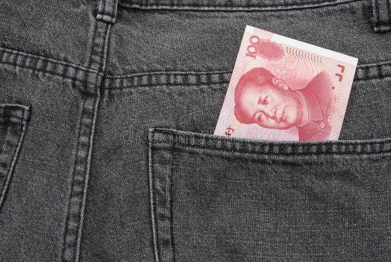 Деньги RMB карманные стоковое изображение rf