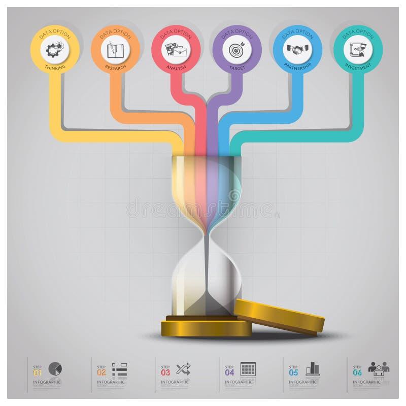 Деньги Sandglass и финансовое дело Infographic с линией Cir иллюстрация вектора