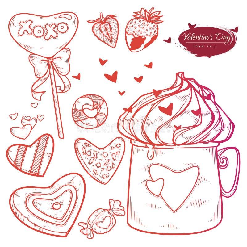 День Валентайн набора вектора Помадки иллюстрации руки вычерченные, печенья, клубники, чашка горячего шоколада, сердец бесплатная иллюстрация