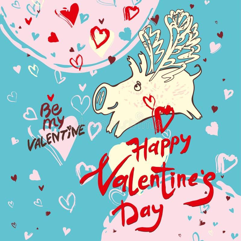 День Валентайн смешной карты doodle счастливый в свинье 2019 Рукописная надпись и белая свинья с крыльями и воздушными сердцами л бесплатная иллюстрация
