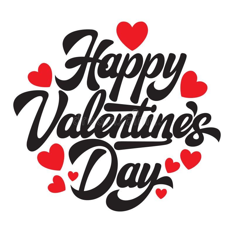 День Валентайн s каллиграфической стильной надписи вектора счастливый с сердцами иллюстрация штока
