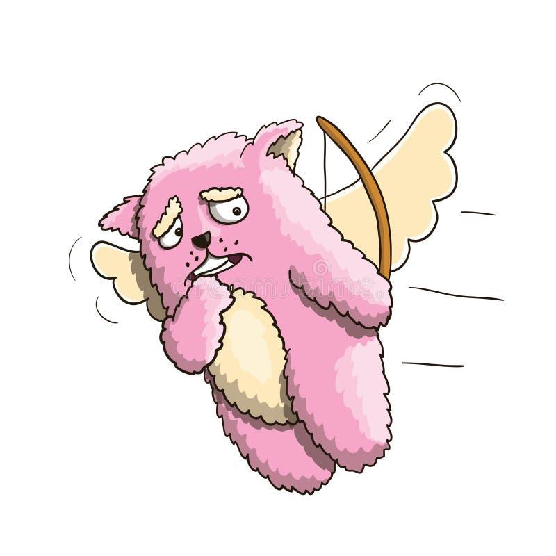 День валентинок, смешной кот пинка купидона, летая на крыла влюбленности, ударил различную персону Белая предпосылка иллюстрация вектора