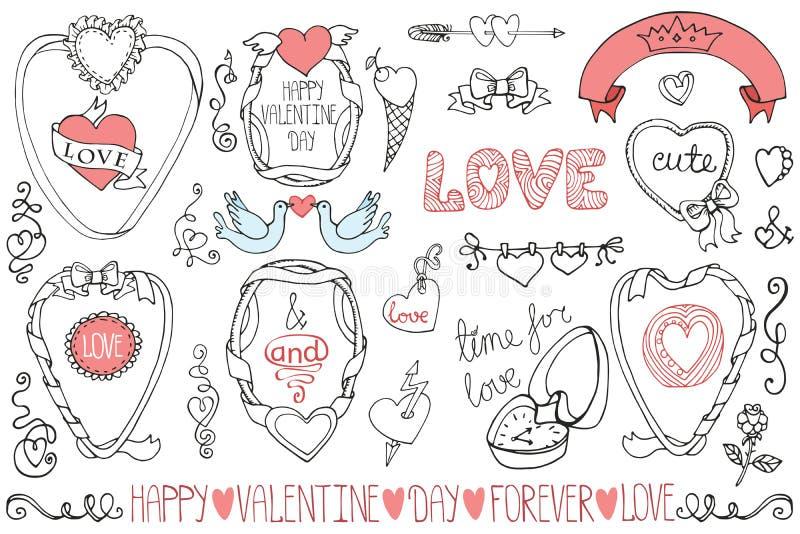 День валентинки, wedding рамки, элемент оформления иллюстрация штока