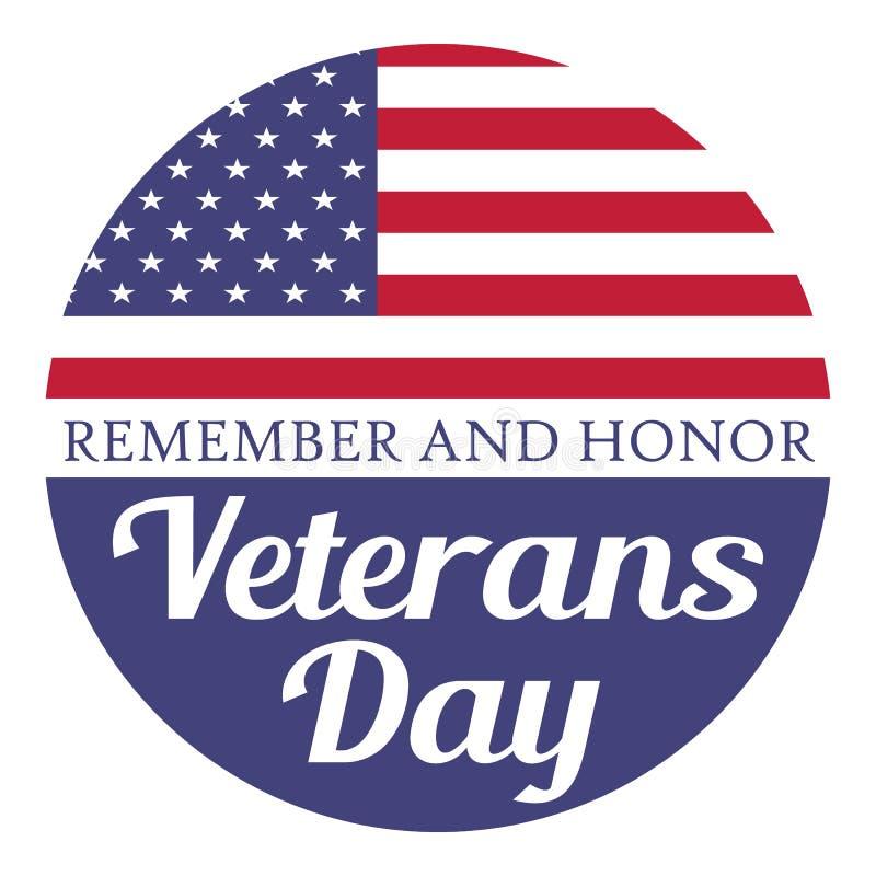 День ветеранов Вспомните и удостойте Иллюстрация с флагом США иллюстрация вектора