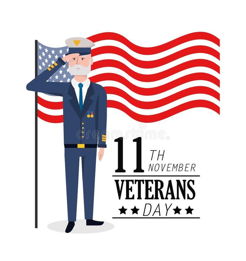 День ветеранов к военному торжеству и флагу иллюстрация вектора