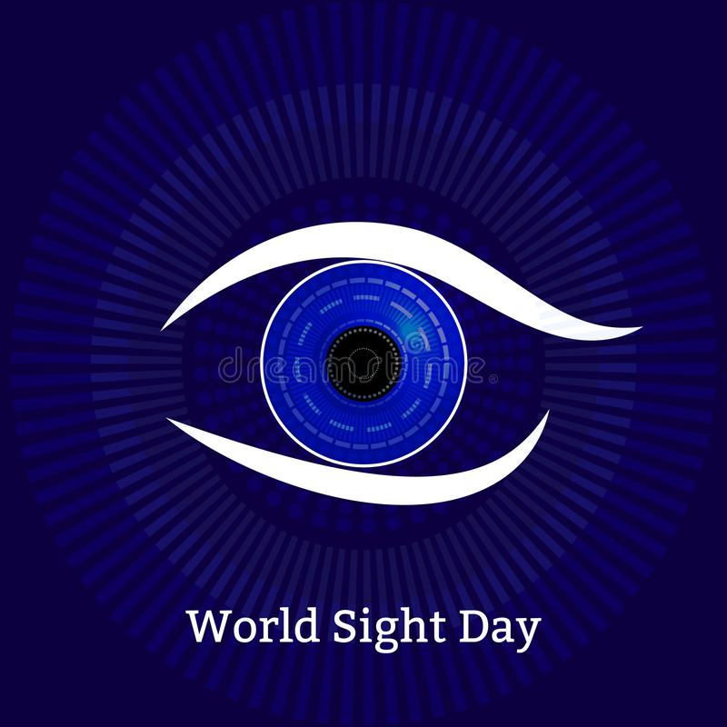 День визирования мира Концепция праздника здоровья Символическое изображение глаза Технологические текстуры - диагностики компьют бесплатная иллюстрация