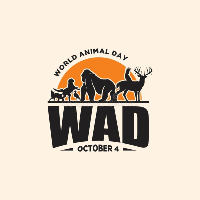 День винтажного мира эмблемы животный с графическими животными и заходом солнца иллюстрация штока