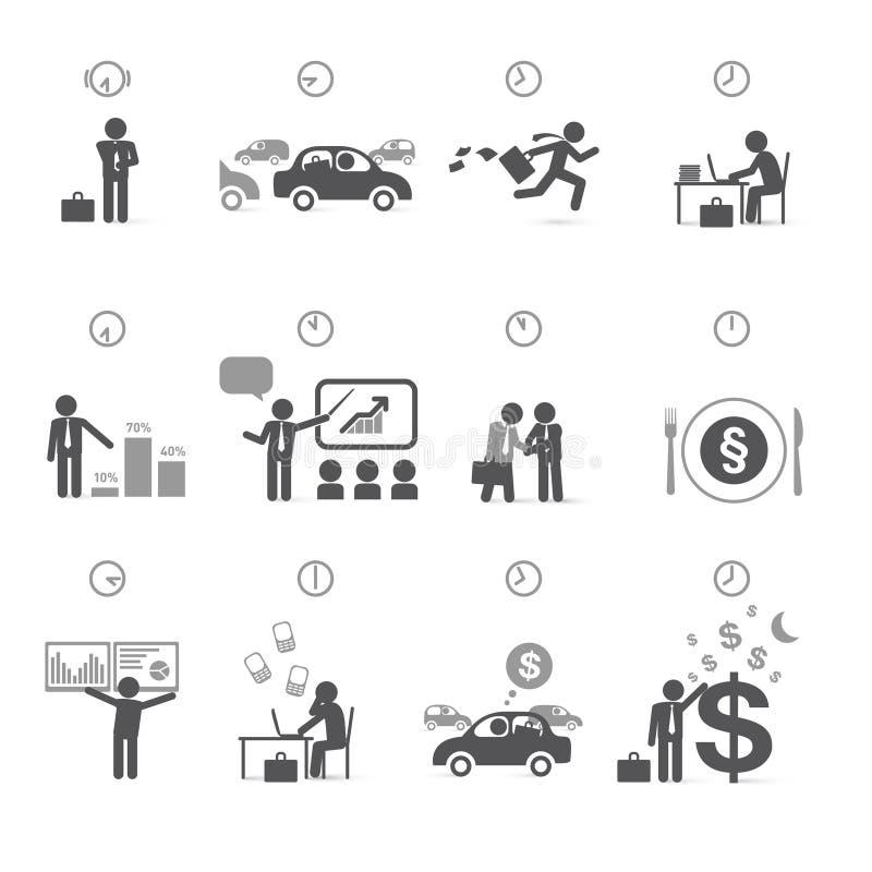 День в часах - контроль времени бизнесмена бесплатная иллюстрация