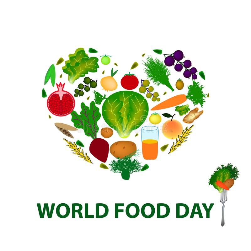 День еды мира 16-ое октября Сердце плодоовощей, овощей, хлопьев Иллюстрация вектора на изолированной предпосылке иллюстрация вектора