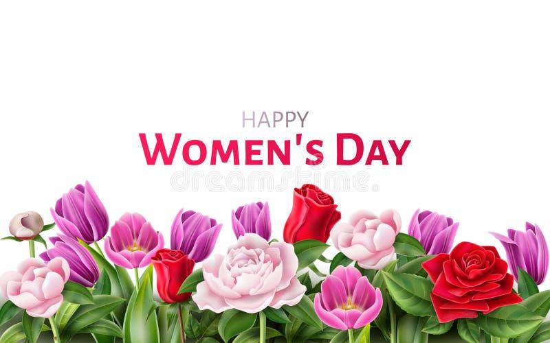 День 8 женщины вектора тюльпана пиона розы в марше бесплатная иллюстрация