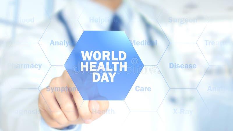 День здоровья мира, доктор работая на голографическом интерфейсе, графиках движения стоковое изображение