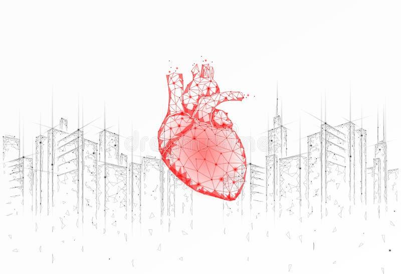 День здоровья низкого поли сердца городской Глобальная сердечная ситуация стресса города городского пейзажа знамени медицины осве иллюстрация штока
