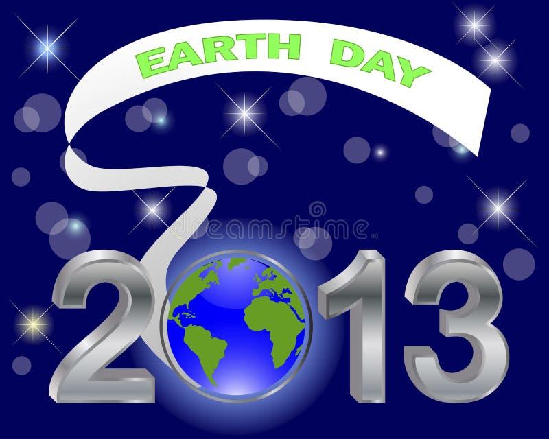 День земли. Серебряное 3-D 2013 с глобусом. иллюстрация штока