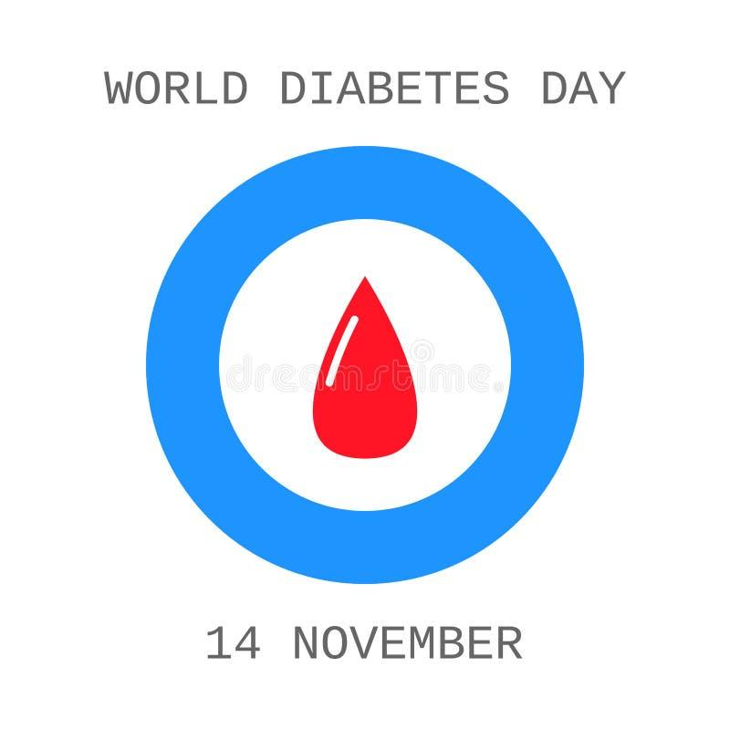 День диабета мира Падение крови Плоский значок бесплатная иллюстрация