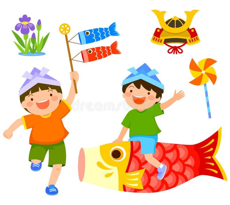 День или Kodomo ` s детей ` s Японии отсутствие высоких иллюстрация вектора