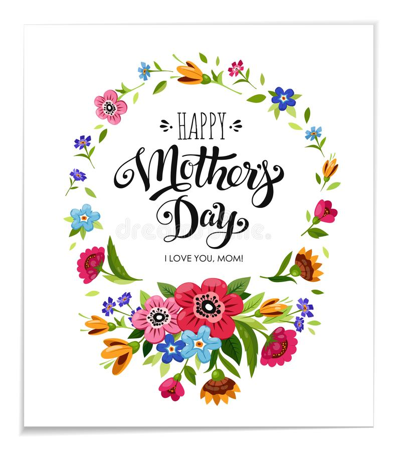 день карточки приветствуя счастливых матей Элегантная нарисованная рука помечающ буквами счастливый день матерей в рамке цветка бесплатная иллюстрация