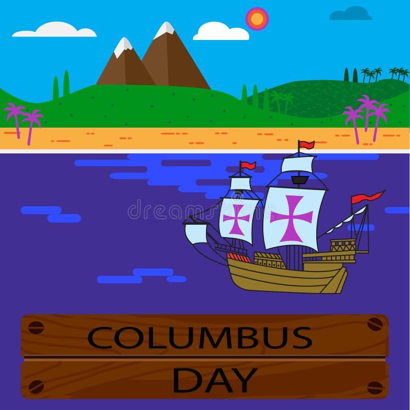День Колумбуса с землей и кораблем в океане плоско вектор иллюстрация вектора