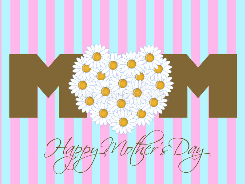 день маргаритки цветет счастливые мати сердца иллюстрация вектора