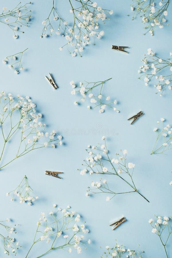 День матерей голубой концепции карты funy плоский положенный, день рождения, свадьба, офис с цветками стоковые изображения rf
