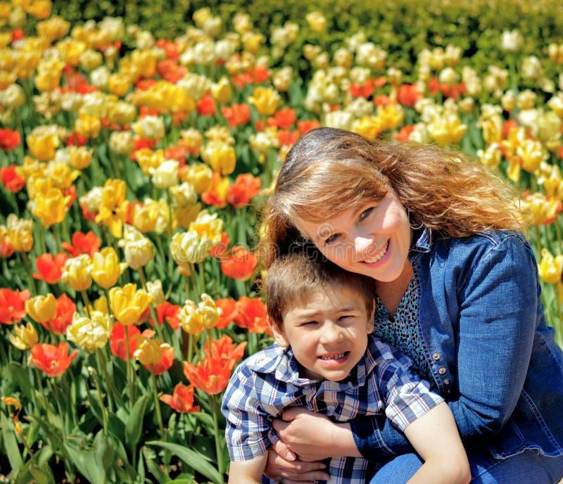 День матери, мама и сын, тюльпаны, цветочный сад стоковая фотография