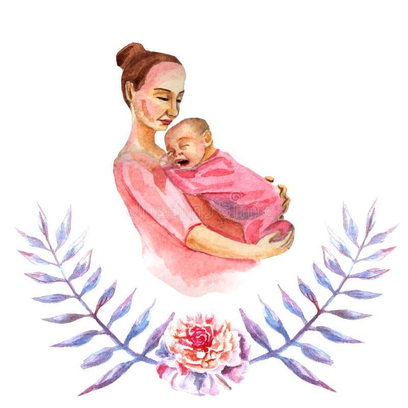 День матери поздравительной открытки акварели покрашенный вручную счастливый иллюстрация вектора