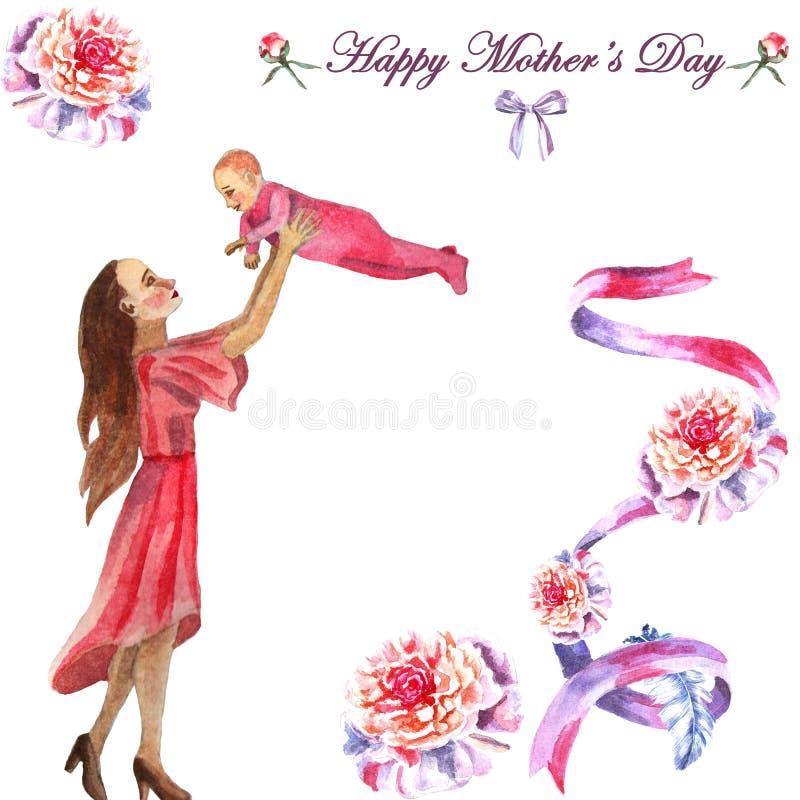День матери поздравительной открытки акварели покрашенный вручную счастливый иллюстрация штока