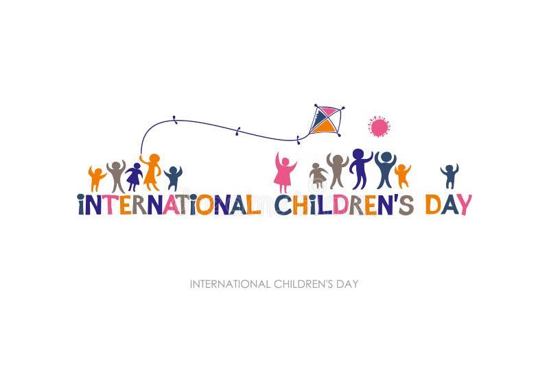 День международных детей Яркий пестротканый плоский дизайн социального логотипа иллюстрация вектора