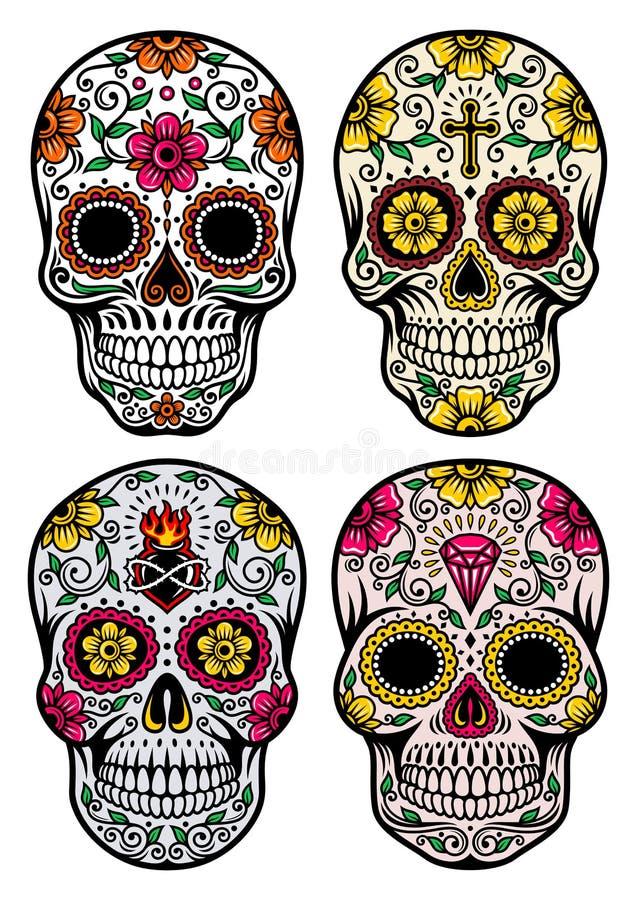 День мертвого комплекта вектора черепа иллюстрация вектора