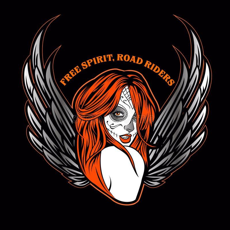 День мертвого сексуального ангела темноты девушки иллюстрация штока
