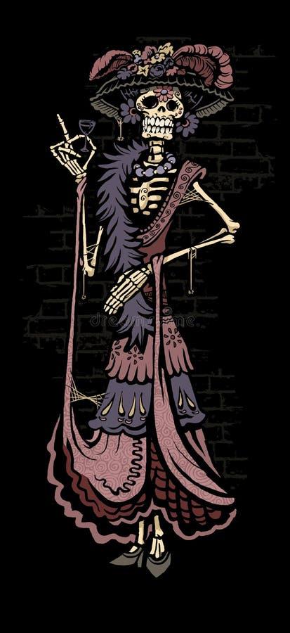 День Calavera Catrina Ла мертвого скелета аристочрата иллюстрация штока