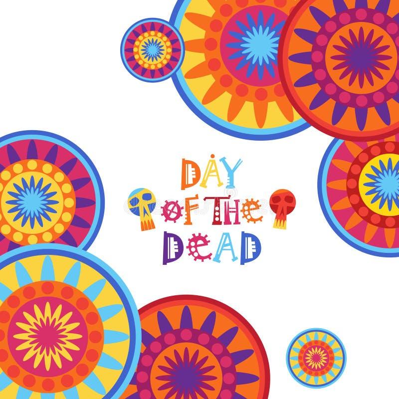 День мертвого традиционного украшения партии праздника хеллоуина Dia De Лос Muertos мексиканца иллюстрация штока
